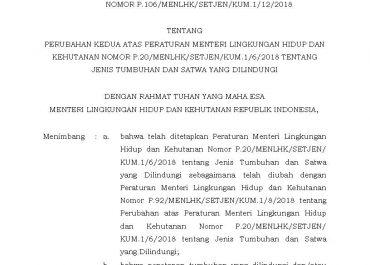 Peraturan Menteri Lingkungan Hidup dan Kehutanan Republik Indonesia : Nomor P.106/MENLHK/SETJEN/KUM.1/12/2018